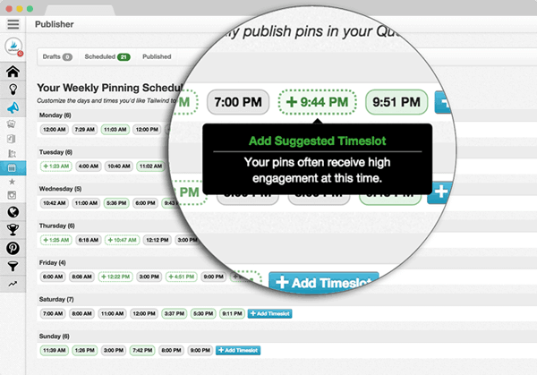 best time to pin on pinterest using tailwind scheduler