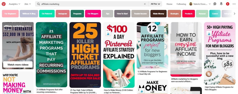 marketing d'affiliation sur pinterest
