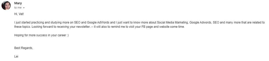 idées sur quoi bloguer - demande par courriel